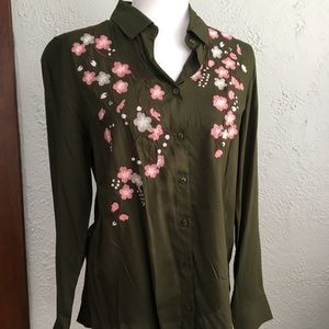 Primark Apostrophe Green Embroidered Shirt Size 8